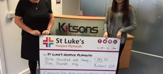 Kitsons Solicitors - Charity Cheque Presentation to St Luke's Hospice