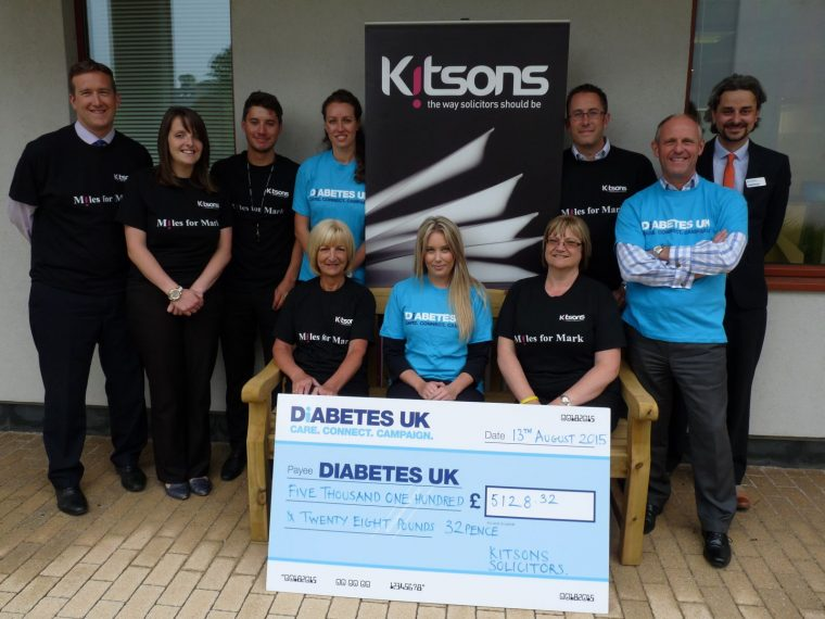 Staff at Kitsons were delighted to present a cheque for $pound;5,128.32 to Diabetes UK