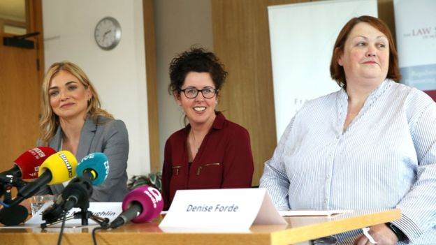 Siobhan McLaughlin (centre) reacts to the judgment on Thursday